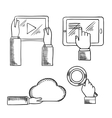 Hands icons with tablets cloud magnifying glass vector image