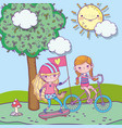 happy childrens day cute girls riding bike and vector image