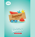 hello summer card banner with wooden background vector image vector image
