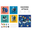 isometric hacker activity infographic template vector image vector image
