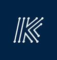 letter k font maze italic geometric vector image