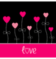 love card Heart flowers Black and pink vector image vector image