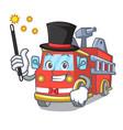 magician fire truck mascot cartoon vector image vector image
