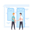 male broker agent and client shaking hands real vector image vector image