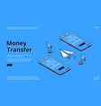 money transfer isometric landing page online bank vector image vector image