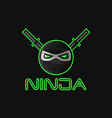 ninja superhero mask logo for a sports team mascot vector image
