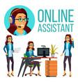 online assistant european woman headphone vector image vector image