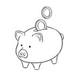 piggy bank and golden coins coloring book vector image
