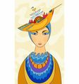 portrait of the girl in a hat vector image vector image
