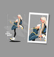 pretty blonde standing in sneakers vector image vector image