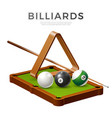 realistic billiards snooker pool balls cue vector image