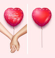 realistic holding hands heart shape air balloon vector image vector image