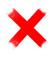 red x cross grungy icon vector image