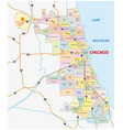 roads and city share map of chicago map vector image vector image