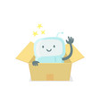 robot toy in the box cute small new emoji sticker vector image