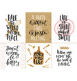 set of bakery lettering posters greeting cards vector image