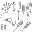 set of screw and screwdriver vector image vector image