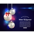 Shining Christmas background with silver balls and vector image vector image