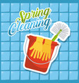 spring cleaning red bucket gloves brush blue tile vector image
