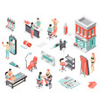 tattoo studio isometric icons vector image