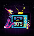 televisor with icons of eighties and nineties vector image