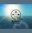 turquoise sunset with blue water sea surface vector image vector image