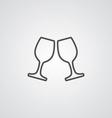 wineglasses outline symbol dark on white vector image vector image