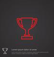 winner cup outline symbol red on dark background vector image