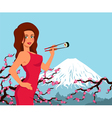 Woman eat sushi Background with sakura and vector image vector image