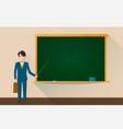 college teacher with empty green school chalkboard vector image