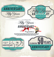 50 years anniversary retro labels vector image vector image