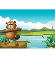 A beaver above a floating trunk holding a piece of vector image vector image
