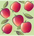 apple seamless pattern ripe fruits with leaves vector image vector image