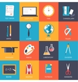 Back to school education art icons Flat vector image vector image