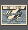 barbershop salon beard shaving razor and scissors vector image vector image