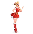 Beautiful woman in Santa outfit finger pointing up vector image vector image