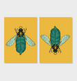 bee and palm leaf flora and fauna vintage print vector image vector image