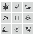 black drugs icons set vector image vector image