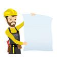 builder in yellow helmet vector image