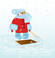 Cartoon kid with snow vector image vector image