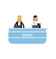 cheerful banking workers standing behind counter vector image