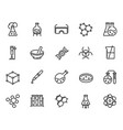 chemical lab research linear icons set vector image