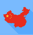 china map with long shadow vector image