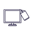 computer monitor with tag commercial vector image vector image