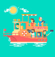 cruise ship sailing on river vector image vector image