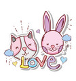 cute and lovely animals card vector image