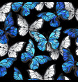 dark seamless pattern with blue butterflies vector image