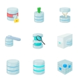 Data icons set cartoon style vector image vector image