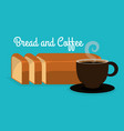 delicious halved bread and coffee label vector image vector image
