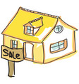drawn house for sale vector image vector image